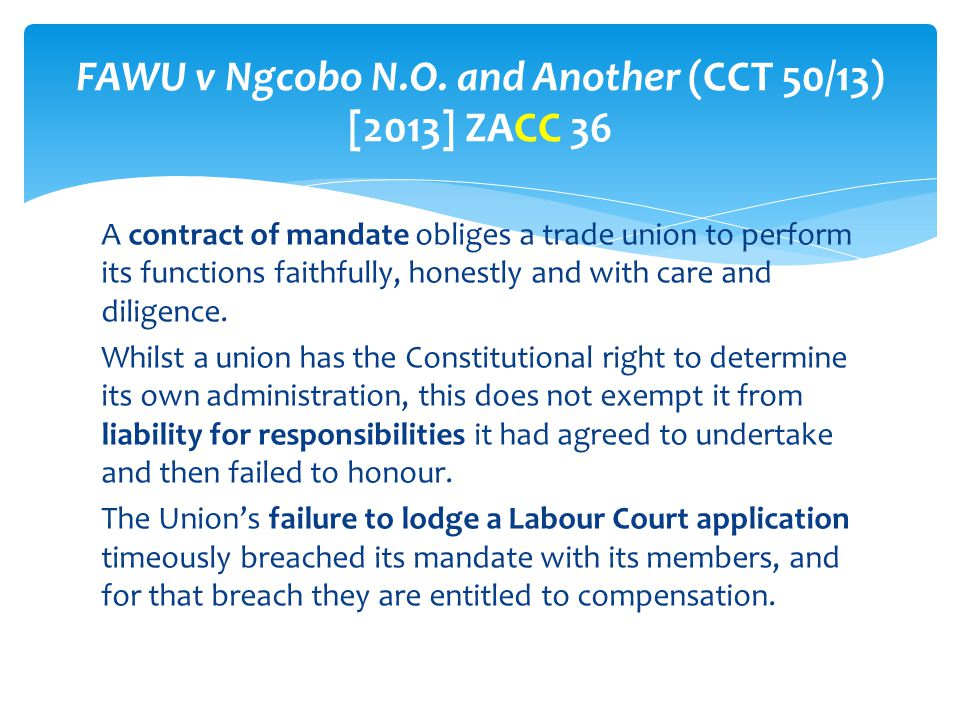 FAWU v Ngcobo N.O. and Another (CCT 50/13) [2013] ZACC 36